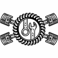 Mechanic Logo Pistons Crossed Motor Engine Gear Wrench Tool Auto Car Part Bi. - My Ideas & Suggestions Mechanic Shop, Mechanic Tools, Garage Art, Man Cave Garage, Motor Logo, Gear Logo, Motorcycle Shop, Motorcycle Parts, Motorcycle Workshop