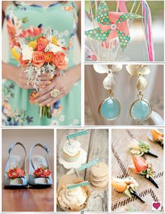 Colorful spring wedding inspiration board stemming from a gorgeous bridesmaids dress with pops of mint green, orange and pink and just a touch of shabby chic.