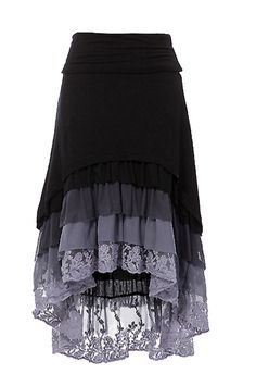 Ruffle Hi-Low skirt High-low hem layered ruffle skirt with fold over waist band.