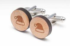 Santa Hat Wood Cufflinks