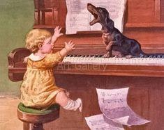 Dachshund Singing on Piano Music Child Watches Vintage Art Print Magnet Vintage Dachshund, Dachshund Art, Vintage Dog, Dachshund Gifts, Vintage Modern, Printed Magnets, Postcard Art, Vintage Art Prints, Happy Baby