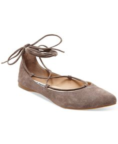 Steve Madden Eleanorr Suede Lace-Up Flats - Flats - Shoes - Macy's