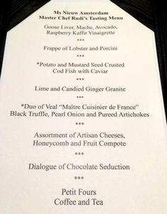 Master Chef's Dinner, Nieuw Amsterdam Holland America Cruises, Holland America Line, Caviar Lime, Cod Fish, Black Truffle, Tasting Menu, Amsterdam, Master Chef, Frappe