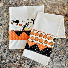Learn how to make these darling Halloween Tea Towels! The perfect addition to any kitchen for Halloween!