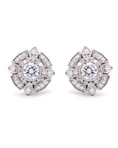 Wedding Earrings Gorgeous vintage style Diamond and Platinum Earrings Diamond Studs, Diamond Jewelry, Diamond Earrings, Stud Earrings, Earring Studs, Rough Diamond, Halo Diamond, Crystal Earrings, Gold Jewelry