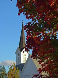 Steeple and fall colored leaves