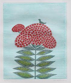 'Bird on flower' (1985) by Japanese artist & printmaker Keiko Minami (1911-2004). Aquatint etching, edition of 120, 22 x 15 in. via Ro Gallery