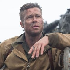 U.S. Sergeant Don Wardaddy Collier (Brad Pitt) leads his five-man crew behind enemy lines during World War II in the film Fury.