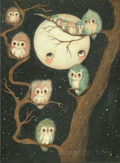 Moon and owls