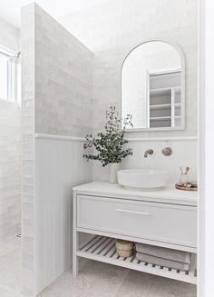 White bathroom ideas - white vanity, white bathroom tiles and and floor White Bathroom Tiles, Laundry In Bathroom, Bathroom Renos, Small Bathroom, Washroom, Bathroom Ideas, Bathroom Gallery, Upstairs Bathrooms, Bathroom Inspo