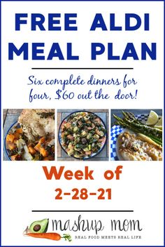 Free ALDI Meal Plan week of 2/28/21: Six complete dinners for four, $60 out the door! This week, your family can enjoy everything from easy flounder & asparagus packets, to simple baked Greek chicken with sweet potato & kale. Save time and money with meal planning, and find new ALDI meal plans every week. Aldi Meal Plan, Meal Prep Plans, Real Food Recipes, Chicken Recipes, Healthy Recipes, Meal Recipes, Meal Planning Board, Baked Greek Chicken, Sweet Potato Kale