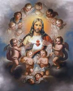 Jesus is always surrounded by adoring angels.