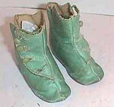 Antique doll shoes light Blue oilskin boots (item #1280990)