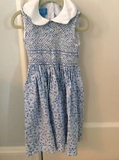 Anavini hand smocked blue floral liberty of London type sleeveless size 4 dress