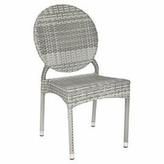 """Wicker side chair in grey with an aluminum frame.  Product: Set of 2 chairsConstruction Material: Wicker and aluminumColor: GreyDimensions: 34.6"""" H x 21"""" W x 22.4"""" D each"""