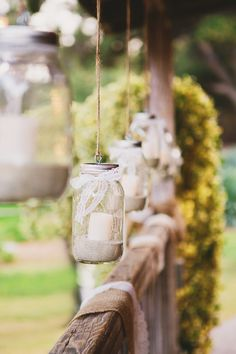 Hanging mason jar candles | Photography: Closer To Love Photography - closertolovephotography.com  Read More: http://www.stylemepretty.com/california-weddings/2014/05/05/rustic-romantic-temecula-creek-wedding/