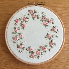 Rose garden ribbon embroidery . pink floral design by FawnandPeach #rosegardening #HandEmbroidery