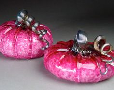 Hand Blown Glass Pumpkin Ruby Jewel Tone Pair