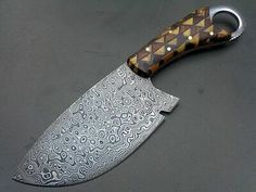 CUSTOM HANDMADE DAMASCUS CLEAVER HANDLE MADE WITH MIX ROSE WOOD AND COW WOOD | eBay