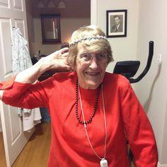 My fabulous grandmother in my @ellenhunternyc Swarovski wreath. Werk girl
