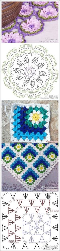 Flower circle offset center granny square