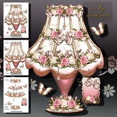 Beautiful Vintage Lamp on Craftsuprint designed by Atlic Snezana - Beautiful Vintage Lamp: 3 sheets for print with decoupage for 3D effect plus 3 sentiment tags (for your own personal text) - Now available for download!