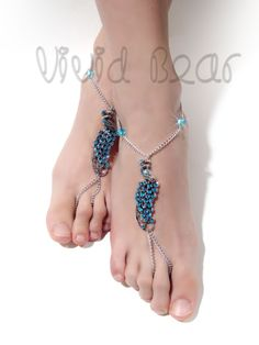 Peacock Barefoot Sandals. Silver Foot Jewelry. Blue Rhinestone Bird . Boho Chain Anklets. Beach Wedding. Festival Body jewelry. 2 pcs. by VividBear on Etsy