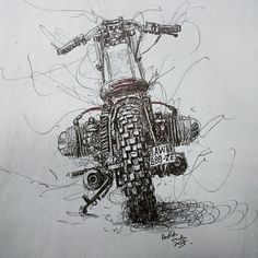 Habermann & Sons Classic Motorcycles and more: Photo Moto Racer, Bmw Cafe Racer, Bmw Motorcycles, Vintage Motorcycles, Image Moto, Art Moto, Bike Sketch, Scribble Art, Motorcycle Style