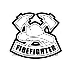 firefighter hat coloring page criss crossed fireman hatchets - Firefighter Coloring Pages