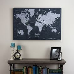 World Travel Map Pin Board w/Push Pins - Modern Slate