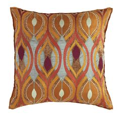 $130 Toss pillow inspired by Art Deco. by Company C designs, copper, orange, silver,embroidery, wine color back,