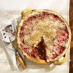 Raspberry-Rhubarb Pie Recipe Healthy Pie Recipes, Rhubarb Recipes, Best Dessert Recipes, Cooking Recipes, Rhubarb Desserts, Dessert Ideas, Rhubarb Cake, Raspberry Recipes, Pie Dessert