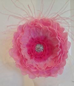 Fancy Girl Couture Jumbo Pink Peony Flower with Pink Ostrich & AB Rhinestones. HandMade in Brooklyn by  FancyGirlBoutiqueNYC, $22.00
