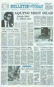 The Manila Bulletin headline of Aquino's assassination on August 1983 - philippines holiday People Power Revolution, Philippine Holidays, Bruce Lee Photos, Manila Philippines, August 21, Power To The People, Tourist Spots, Military Men, Pinoy