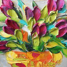Oil Painting Magenta Purple Tulips Art Still by IronsideImpastos, $40.00