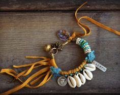 Ethnic Tribal wrap bracelet necklace anklet. by BeadStonenSkin
