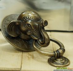 Antique Large BIG ELEPHANT Thai Head Door Knocker Cast Solid Brass.