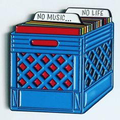 No Music No Life Record Crate Enamel Pin by Mood Poison