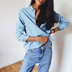 Double denim outfit perfection. Get the look with these jeans: http://asos.do/Af57wV and this shirt: http://asos.do/7qYC68