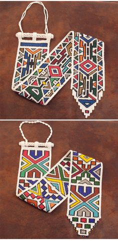 Africa | Contemporary Ndebele beadwork; 'wall hanging' inspired by the traditional Ndebele bride's veil | Glass beads on thread | via African Allure