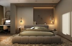 Neutrale Schlafzimmer Einrichtung mit Pendelleuchten in einer Gruppe