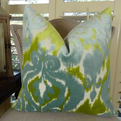 Velvet Bliss Water  Revive your interior with gorgeous #Couch #pillow is a blend of viscose, polyester and linen in blue and citrine colors. Available at $ 114.00