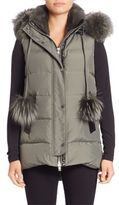 Nicole Benisti Rabbit & Fox Fur-Trim Down Vest