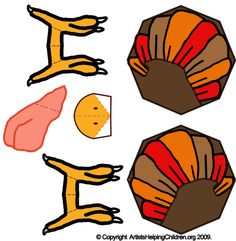 Free Diagrams - Thanksgiving Turkey Crafts : How to Make Printable Paper Model Toy Turkeys for Kids