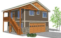 Frontier G Tiny House Plans (With Garage): 2bed 1bath 576sq'