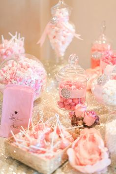 Classic Audrey fairytale wedding. Pinks, blushes, nudes, and lots of sparkle and sequins. Hydrangeas and roses. Nude sequined linens. All pink candy bar.