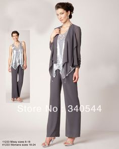 Mother of the Bride Pant Suits  with jacket light gray crystal party dresses Mother of the Bride Dresses  2013 New Fashion 012 US $104.00