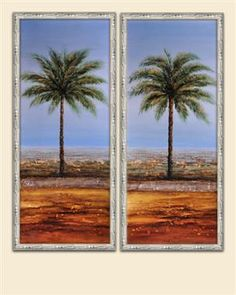 Multi Color Seeing Double Palms Wall Art ( Set/2 )
