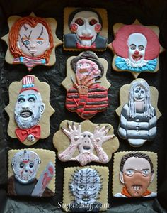 Your place to buy and sell all things handmade Horror Movie Monster Decorated Cookie Collection 10 Horror image 0 Halloween Cookies Decorated, Halloween Desserts, Halloween Cakes, Halloween Treats, Halloween Fun, Decorated Cookies, Scary Halloween Cookies, Halloween Baking, Halloween Costumes