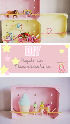 DIY Regal aus Mandarinenkisten für das Kinderzimmer, DIY kidsroom storage ideas, upcycling, Aufbewahrung Schleichtiere und Tonies